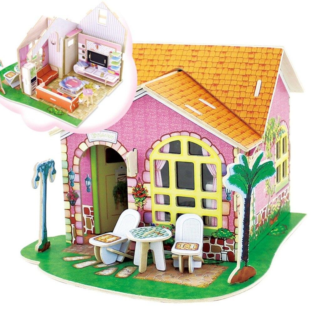 Wood font b Toys b font House Dream House 3D Puzzles Jigsaw DIY Educational font b