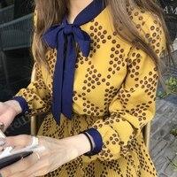 Retro Princess Chiffon Dress Women 2019 autumn Vintage Pleated Midi Dress Korea Design Vestidos Vestiti Donna