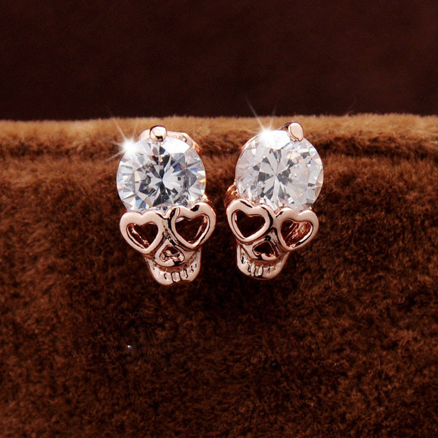 5ed5eeb44 Cute Heart Eyes Skull Earrings for Women Girl Small Jewelry Rose Gold Color  Trendy Shining CZ Crystal Stud Earrings brincos Gift