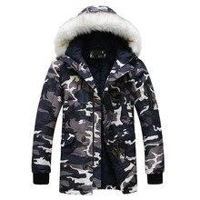 Новые 2019 камуфляж вниз парки куртки Для мужчин парка пальто с капюшоном мальчиков меховой воротник парки зимние куртки мужские в стиле милитари утепленная куртка