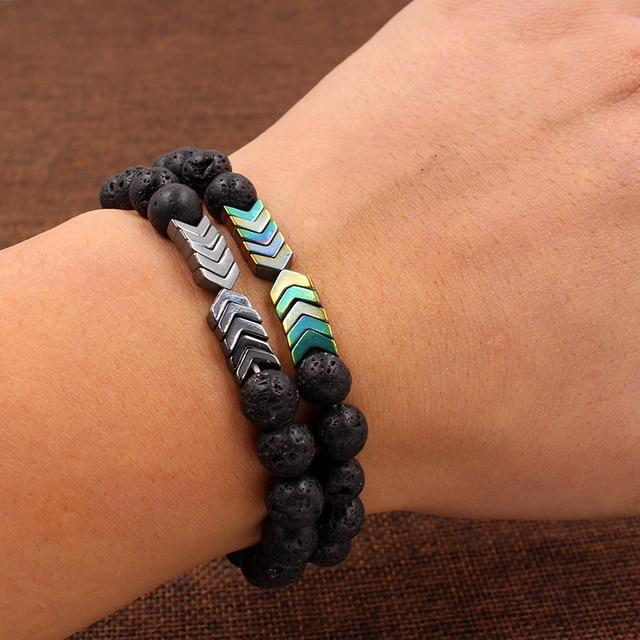 Купить черный камень лавы треугольный гематит бусы браслеты браслет