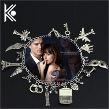 Free Shipping Movie Jewelry 50 Fifty Shades of Grey Handcuffs Hand catenary charm Bracelet Handcuffs crime jewelry(China)