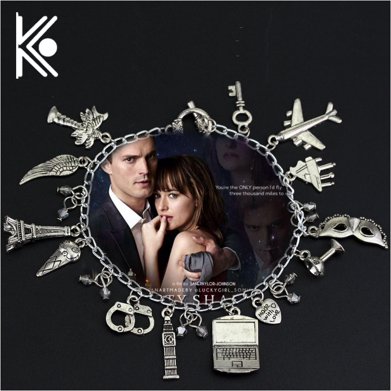 Free Shipping Movie Jewelry 50 Fifty Shades of Grey Handcuffs Hand catenary charm Bracelet Handcuffs crime jewelry ...