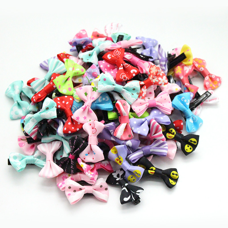 50 Pcs/ Lot cute barrette Small Mini 3cm Bow Sweet hair clips for girls Hair Accessories Solid Dot/Stripe Printing Kids Hairpins kitavt75417unv10200 value kit advantus id badge holder chain avt75417 and universal small binder clips unv10200