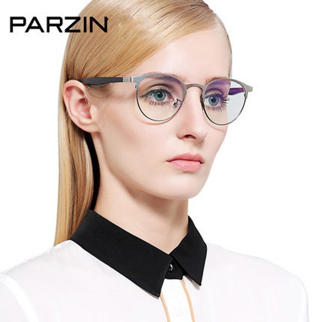 Parzin Óculos Redondos Vintage Frame Mulheres Óculos de Metal Homens Quadro Tr 90 Perna Óculos Com Caixa Preta 5062