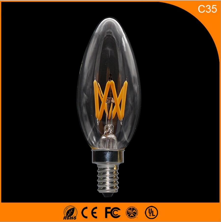 50PCS 3W E14 E12 LED Bulbs ,C35 LED Filament Candle Bulbs 360 Degree Light Lamp Vintage pendant lamps AC220V led light bulb filament vintage edison e14 2 w 4 w c35 ac220v glass transparent shell cob led candle lamp 360 degree light bulb