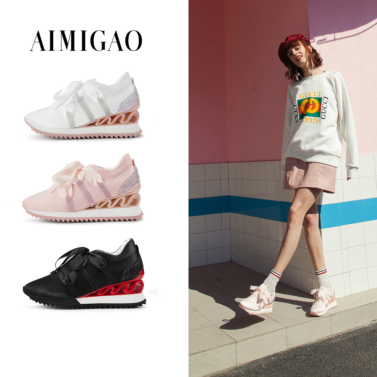 AIMIGAO Pink Fashion Bow-Knot Lace-Up Flat Shoes Silk Platform Thick Bottom Street Style Women Casual Shoes 2018 Spring New beffery 2018 british style patent leather flat shoes fashion thick bottom platform shoes for women lace up casual shoes a18a309