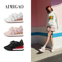 AIMIGAO Pink Fashion Bow Knot Lace Up Flat Shoes Silk Platform Thick Bottom Street Style Women Casual Shoes 2018 Spring New