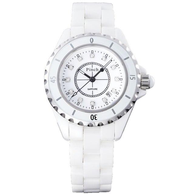 Pinch porcelain watch ceramic watch female white women's watch fashion lovers watch rhinestone