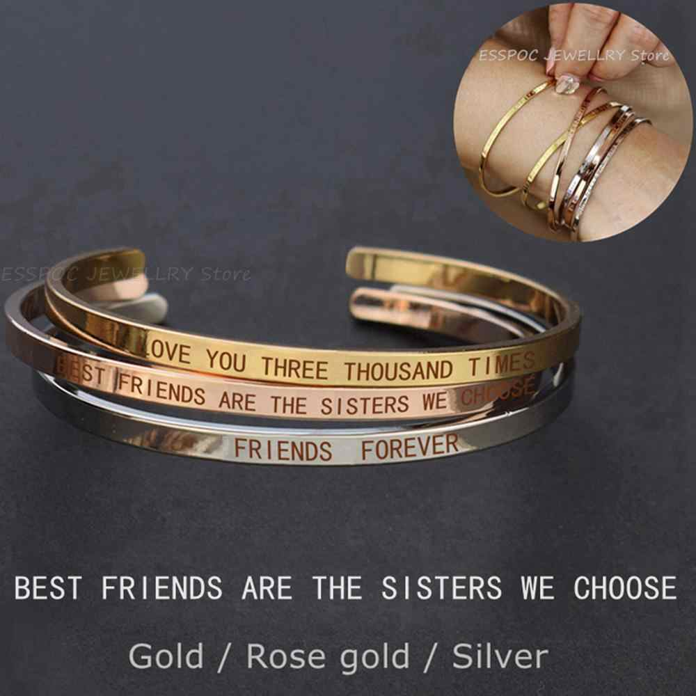 Best Friends Letters Engraved Bangle Stainless Steel Lettering Bracelet Fashion Bar Charm Cuff Bracelets Soul Sister Women Gift