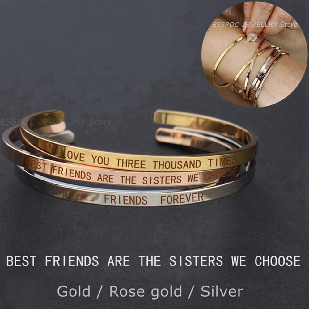 Best Friends Letters Engraved Bangle Metal Lettering <font><b>Bracelet</b></font> Fashion Bar Charm Cuff <font><b>Bracelets</b></font> Soul Sister Women Gift image