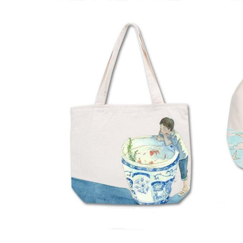 2016 Sell DIY Enjoy The Design Women's Handbags The White Canvas Ladies Portable Shoulder Bag