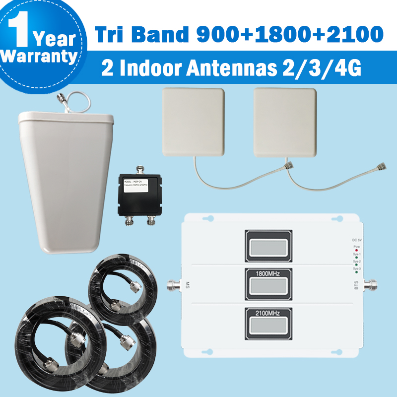 2018 Lintratek Tri banda repetidor 2 antena de interior 2G 3G 900, 2100 4g/DCS/LTE 1800 móvil de señal de teléfono 2G 3G amplificador amplificador señal movil 900 amplificador de señal movil 4g 2g repetidor 4g 1800 kit