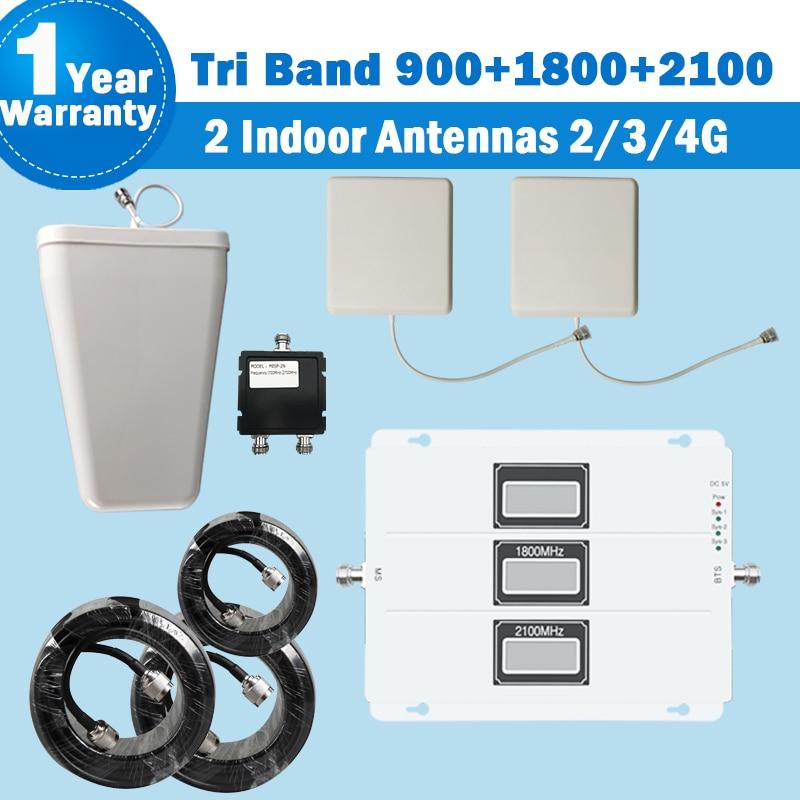 2018 Lintratek repetidor de banda Tri 2 antena interior 2G 3G 900 2100 4G DCS/LTE 1800 teléfono Móvil Booster 2G 3G amplificador S28