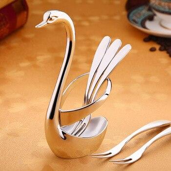 Alta calidad creativa servicio de comedor aperitivos de la fruta tenedor Swan titular de vajilla casa proveedor de fiesta