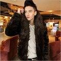 Pls buy it!New Mens Faux Fur Coat Winter Solid Color Long Sleeve Hoodies Fur Coat black&brown Casual Fox Hair Fur Casual jackets
