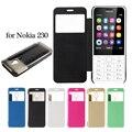 Bolso del teléfono móvil para nokia 230 case cepillado pu de cuero cubierta de shell de windows vista case para nokia 230