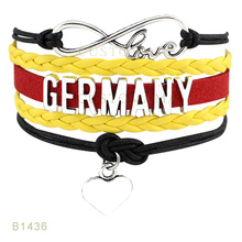 (10 pcs/lot)Infinty Love Germany Heart Charms Bracelets For Women Men Jewelry Black Yellow Red Wax Suede Leather Wrap Bracelet(China)