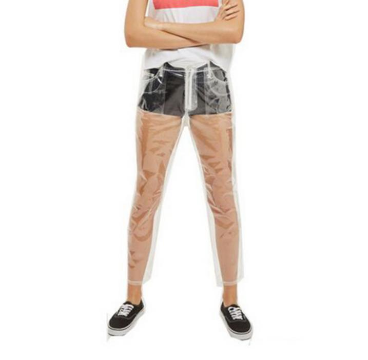 2017 Rare Hot Sale Transparent   Pants   Women High Waist   Pant   Waterproof PVC Plastic   Wide     Leg     Pants   Loose Long Trousers Fashion