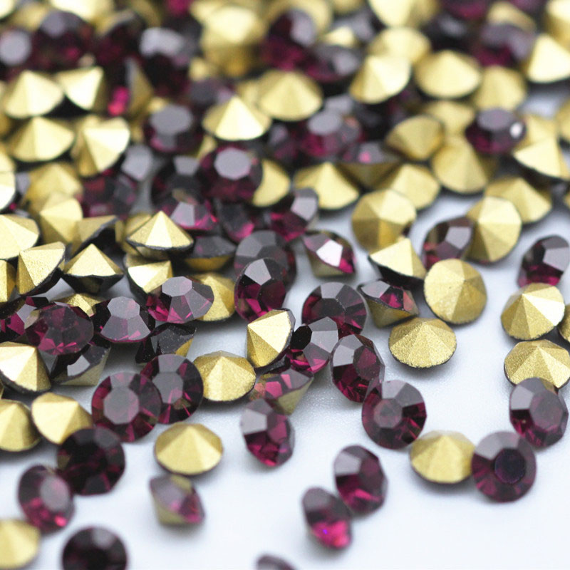 Round Mixed Size Rhinestone Top Quality Flash Pointback Crystal Manicure For Apparel Hot Back DIY Clothing Decoration