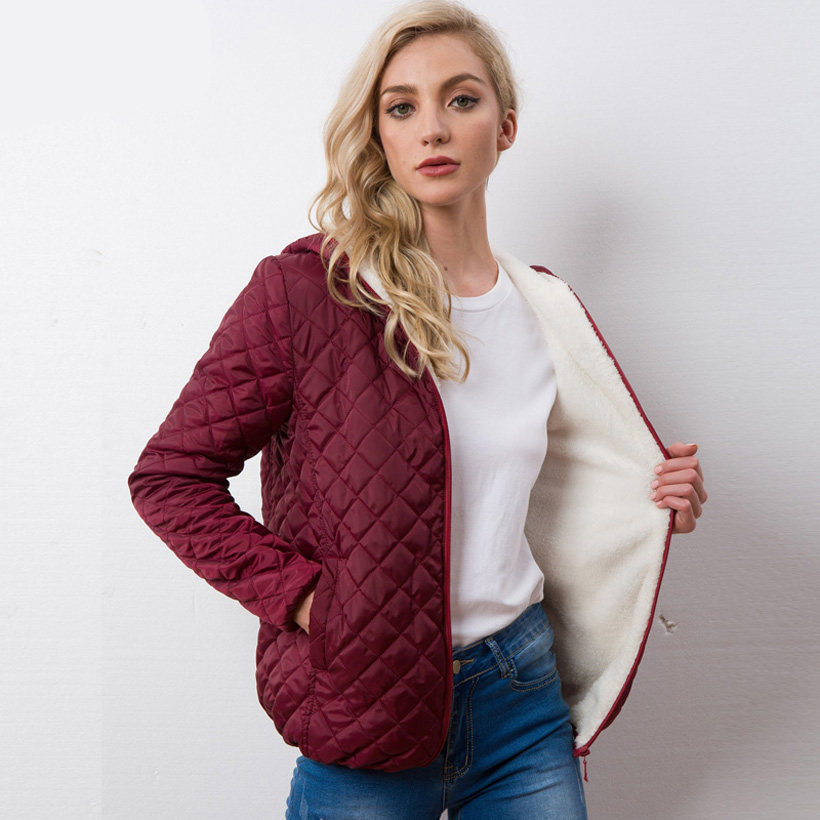 Hot Sale Autumn Parkas   Basic     Jackets   Female Women Winter Plus Velvet Lamb Hooded Coats Cotton Winter   Jacket   Womens Outwear Coat