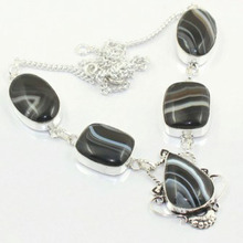 Botswana Agates  Necklace Silver Overlay over Copper, 47.8 cm, N3831