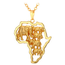 U7 African Map Elephant Necklaces & Pendants Yellow Gold/Platinum Plated Wholesale Africa Lucky Men Jewelry Necklace Women P147
