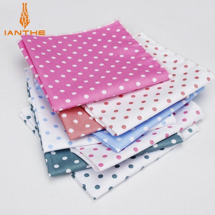 2018 Brand New Men's Fashion Cotton Dot Pocket Squares For Men Handkerchief Wedding Vintage Hanky Suits Pocket Hankies Towel