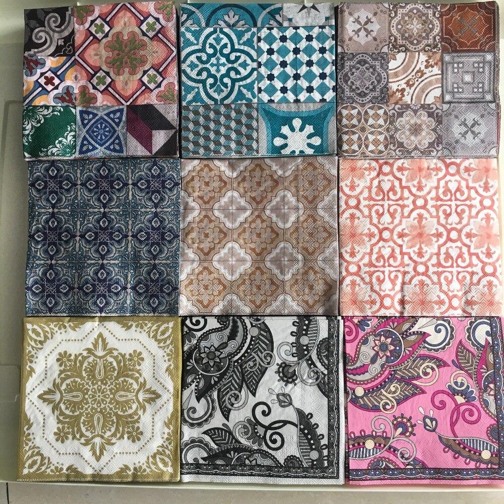 Decoupage Wedding Servilletas Vintage Table Napkins Paper Tissue Printed Flowers Pattern Striped Birthday Party Decor 20 3-pl