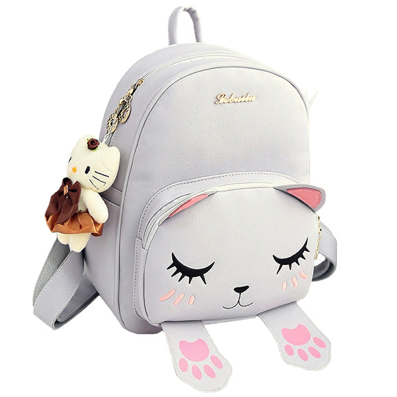 New Arrival Lovely Cat Leather Backpacks Women Shoulder Bags School Bags For Teenagers Girls Travel Laptop