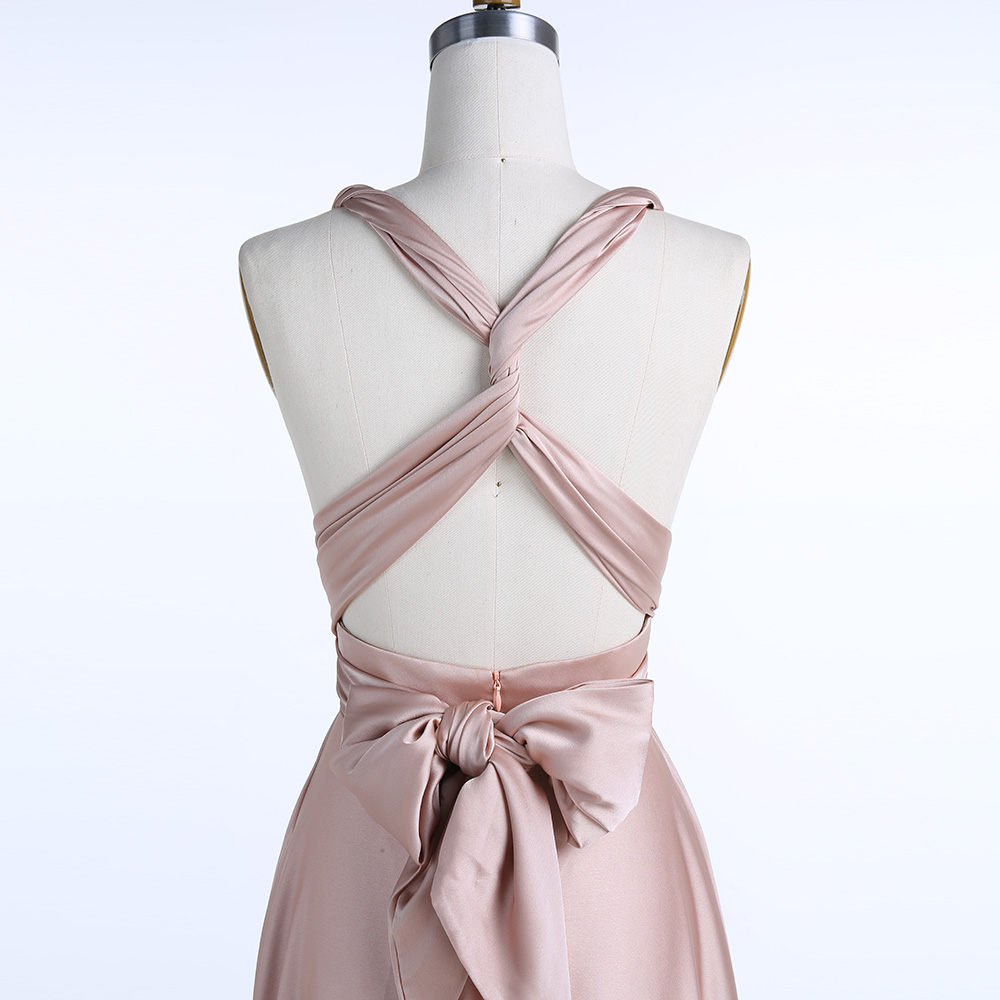 BeryLove longue robe de soirée Champagne 2019 bretelles entrecroisées pli Simple Satin robe grande taille plaine femmes formelle robe de bal - 6