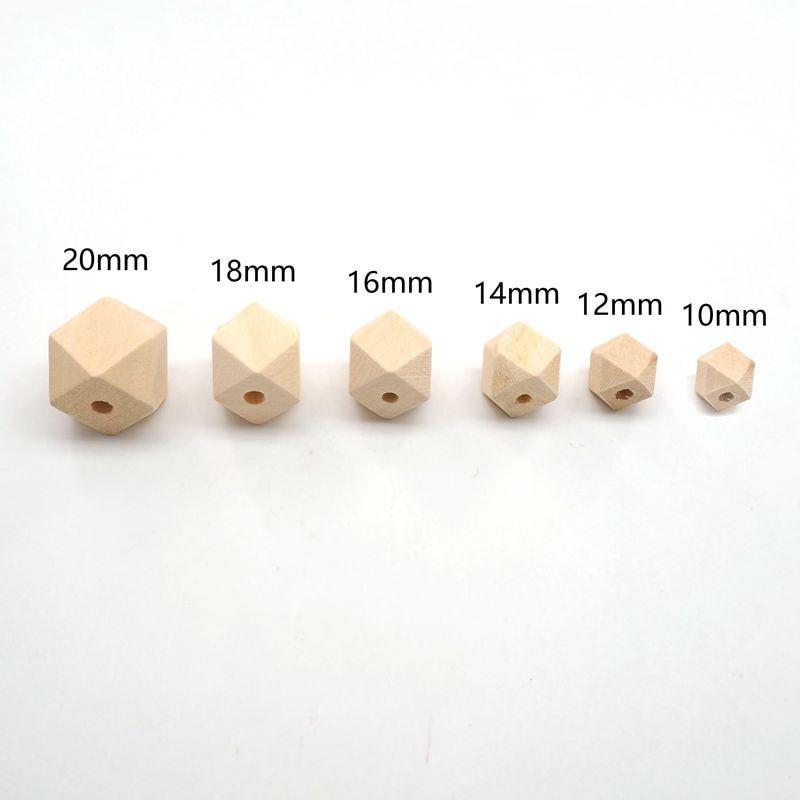 Купить с кэшбэком Chenkai 100pcs 18mm Wooden Beads Baby Teething Beads Wood Hexagon Beads Baby Teethers For baby care Toys Jewelry Making