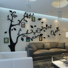 Cheap 12pcs Photo frame tree wall stickers Crystal Acrylic 3D stereo photo living room entrance TV sofa backdrop decorative