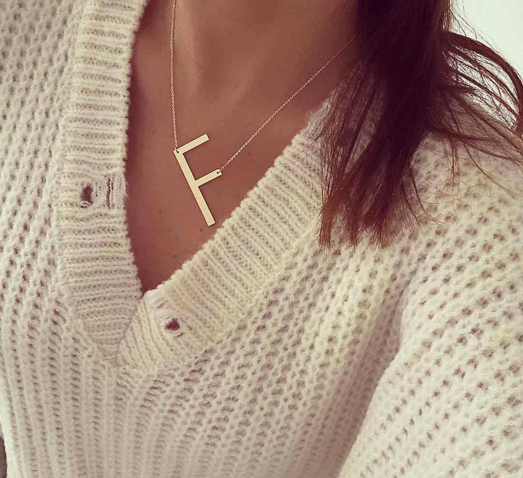 ใหม่ Minimalist Gold Rose Gold Silver สี 26 A-Z ชื่อจดหมายเริ่มต้นสร้อยคอผู้หญิงยาวจี้สร้อยคอจี้