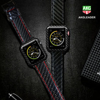 For Apple Watch Series 4 iWatch Band Real Carbon Fiber Watch Straps For Apple Watch Series 1 2 3 Leahter Bracelet 38 42 40 44mm