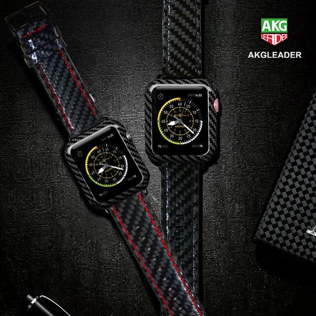 Voor Apple Horloge Serie 4 iWatch Band Real Carbon Fiber Horloge Bandjes Voor Apple Horloge Serie 1 2 3 Leahter armband 38 42 40 44mm-in Horlogebanden van Horloges op  Groep 1