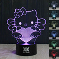 HUI YUAN  Hello Kitty 3D lamp Visual Led Night Lights for Kids Touch USB Table Lampara as Besides Lampe Baby Sleeping Nightlight