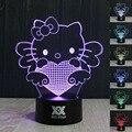 Hui yuan hello kitty 3d visual da lâmpada led luzes da noite para crianças Lampe Lampara pois Além de Toque USB lâmpada de Mesa Do Bebê Dormir Nightlight