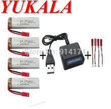 YUKALA S032G wltoys V959 V929 U818A RC quadcopter 3.7v 600mah Li-polymer battery*4pcs+charger case JST plug