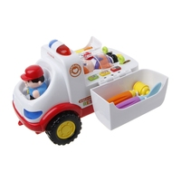 HBB 1PC Baby Toy Ambulance Models Doctor Vehicle Set with Lights Music Electric Educational Car Toys For Kids Xmas Toys