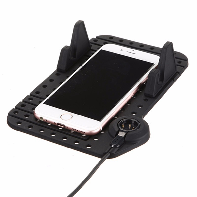 Non-Slip Car Pad Support Magnetic Dashboard Stand 8 Pin USB Cable Mount Charger Holder For iPhone For Samsung GPS