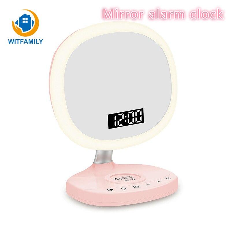 LED réveil numérique multi-fonction miroir réveil avec fonction Snooze muet veilleuse sans fil charge horloges numériques