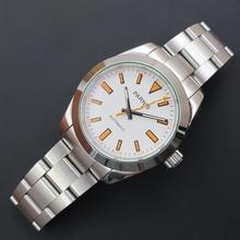 40mm Parnis Dial Cristal de Zafiro Blanco con Naranja Marca Movimiento Automático Reloj de Pulsera