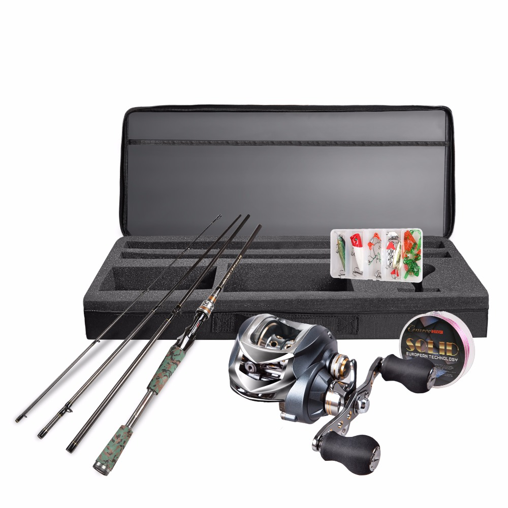 1.8m/2.1m/2.4m Baitcastning Travel Kit Carbon Fishing Rod+ Left /Right Hand Bait Casting Reel+Line+Lure Saltwater Freshwater Use nunatak original 2017 baitcasting fishing reel t3 mx 1016sh 5 0kg 6 1bb 7 1 1 right hand casting fishing reels saltwater wheel