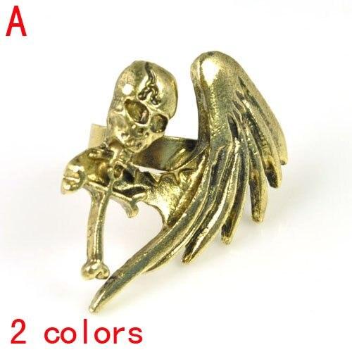 Vintage steamPunk jewelry ring women single wing wings skeletal cross personality finger ring RN-622