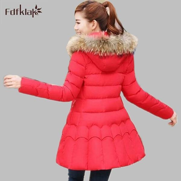 ФОТО New Brand Winter Jacket Women Fur Collar Hooded Slim Female Long Thickening Cotton Jackets Parkas Plus Size S-XXL E734