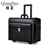 QiangHao Luxury Business Leather Trolley Suitcase Pilot Captain Rolling Luggage Mens Travel Case Women 17 Inch