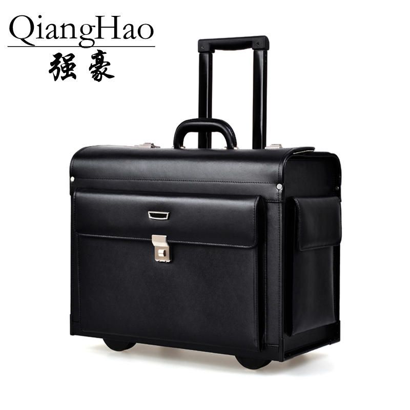 QiangHao Luxury Business Leather Trolley Suitcase Pilot Captain Rolling Luggage Mens Travel Case Women 17 Inch Brown vintage suitcase 20 26 pu leather travel suitcase scratch resistant rolling luggage bags suitcase with tsa lock
