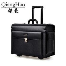 QiangHao Luxury Business Leder Trolley Koffer Pilot Kapitän Rollgepäck Herren Reise-etui Frauen 17 Zoll Braun