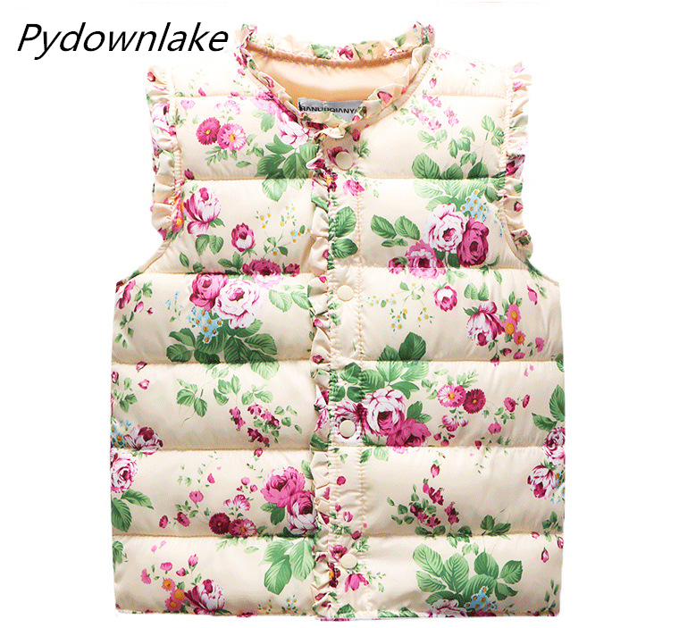 Hot Sale Kids Autumn Spring Winter Baby Girls Vests gilet Flower Printed weskit without Hooded Outerwear Padded waistcoat